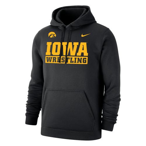 Nike Men's Wrestling University of Iowa Club Fleece Pullover Hoodie - Black/Gold