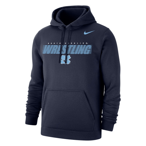 Nike Men's Wrestling Univ of North Carolina Club Fleece Pullover Hoodie - Navy