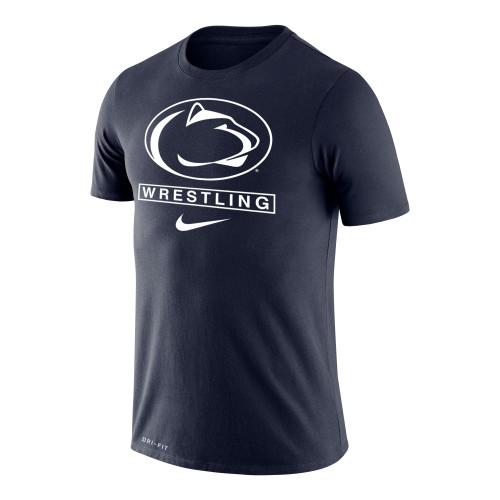 Nike Men's Wrestling Penn State Dri-Fit Legend Short Sleeve Tee - Navy