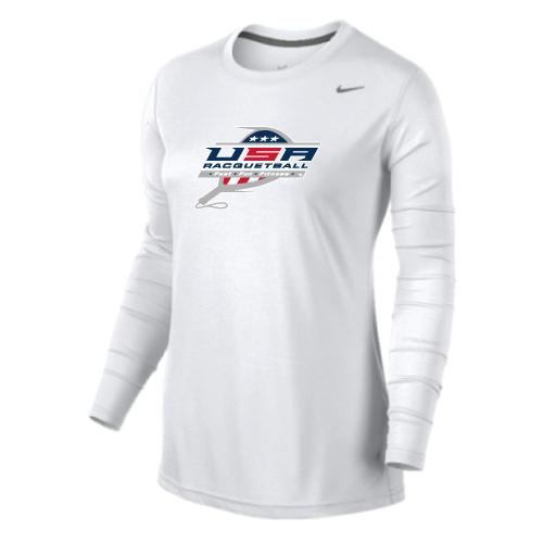 Nike Women's USA Racquetball Team Legend LS Crew - White