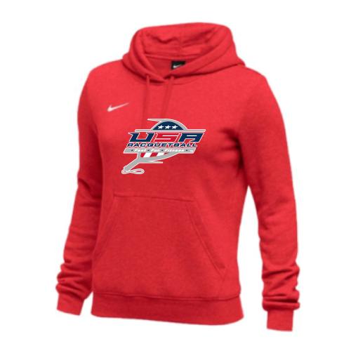 Nike Women's USA Racquetball Club Fleece Pullover Hoodie - Scarlet
