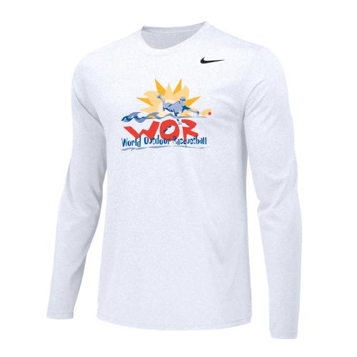 Nike Men's USA Racquetball World Outdoor L/S Dri-Fit Cotton Tee - White