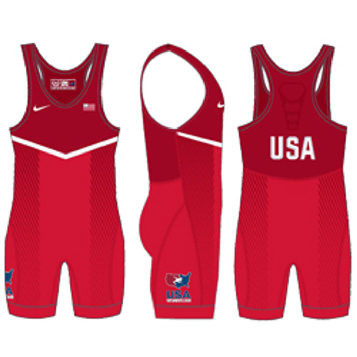 Nike Women s USAWR Grappler Elite Tour 2 Wrestling Singlet - Red b9dc16e0be49