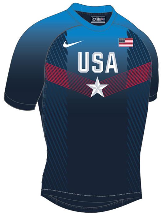 Nike Men's USAWR Paris Compression Fight Shirt - Navy