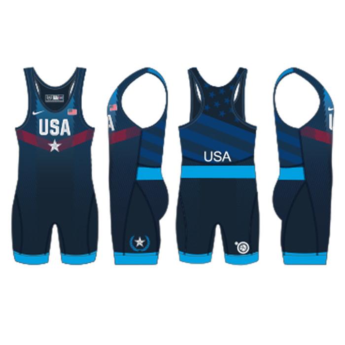 Nike Men's USAWR Paris Tour Wrestling Singlet - Navy
