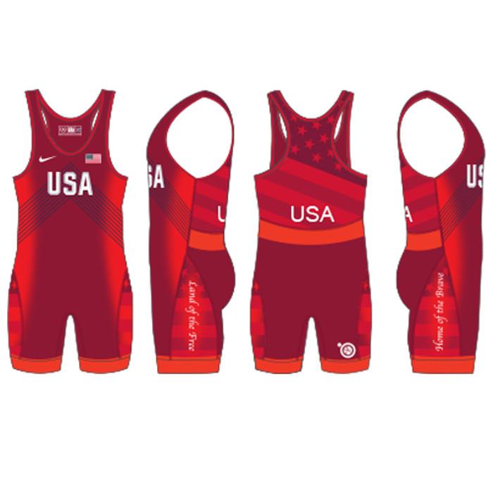 Nike Men's USAWR Budapest Tour Wrestling Singlet - Red