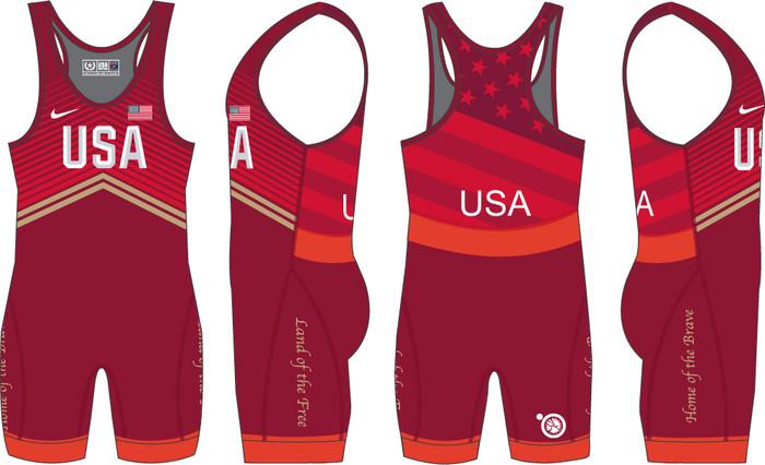 Nike Women's USAWR Double Chevron Tour Wrestling Singlet - Red