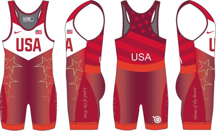 Nike Women's USAWR Star Tour Wrestling Singlet - Red