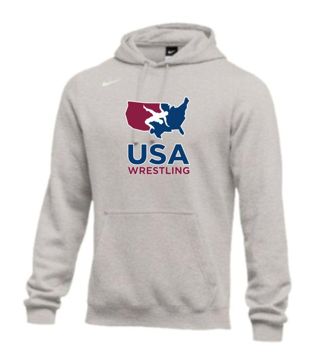 Nike Men's USA Wrestling Club Fleece Hoodie - Grey