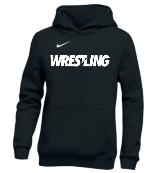 Nike Youth Wrestling Pullover Club Fleece Hoodie - Black/White