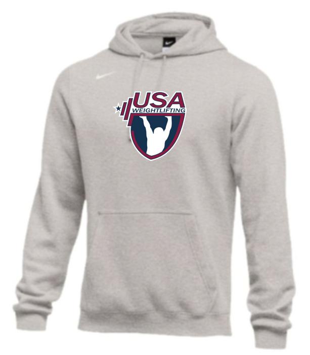 Nike Men's USA Weightlifting Club Fleece Pullover Hoodie - Heather Grey