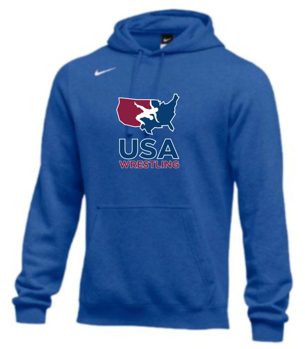 Nike Men's USA Wrestling Club Fleece Pullover Hoodie - Royal