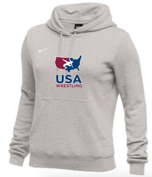 Nike Women's USAWR Club Fleece Pullover Hoodie - Heather Grey