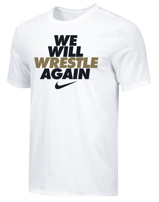 Nike Youth We Will Wrestle Again Tee - White/Black/Metallic Gold