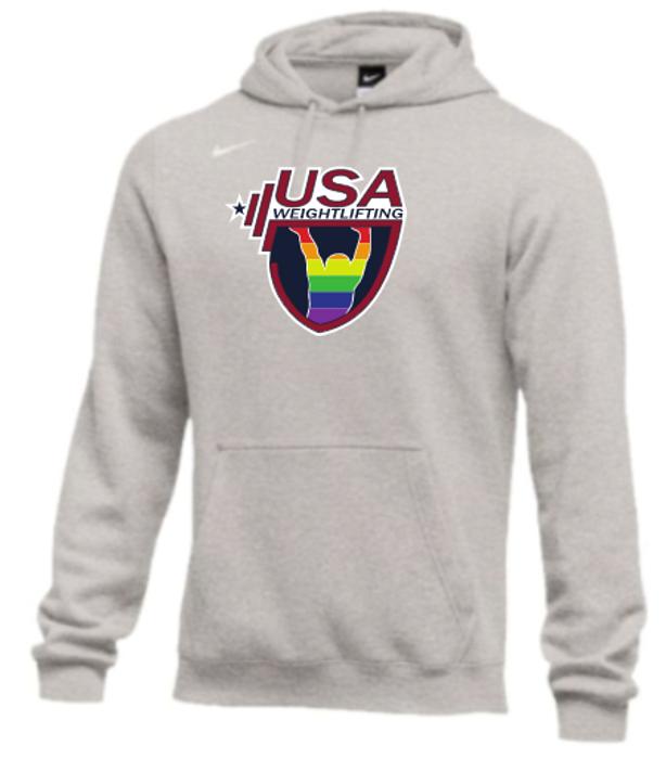 Nike Men's USA Weightlifting Pride Fleece Pullover Hoodie - Heather Grey