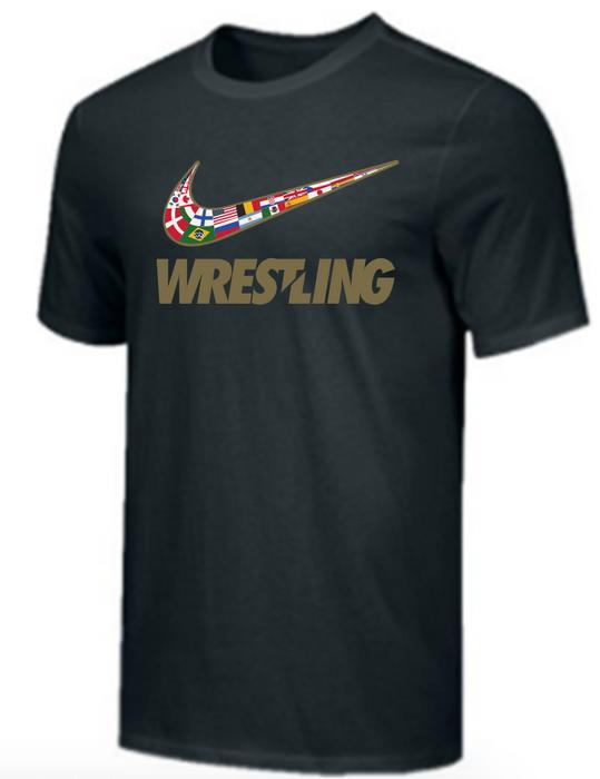 Nike Youth Wrestling Multi Flag Tee - Black