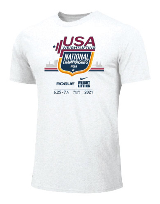 Nike Youth USA Weightlifting National Championships Detroit 2021 Tee - White