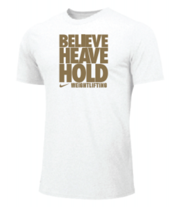 Nike Men's Weightlifting Believe Heave Hold Tee - Gold/White