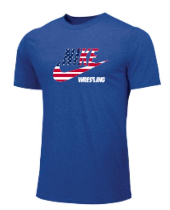 Nike Men's Wrestling USA Flag Tee - Royal