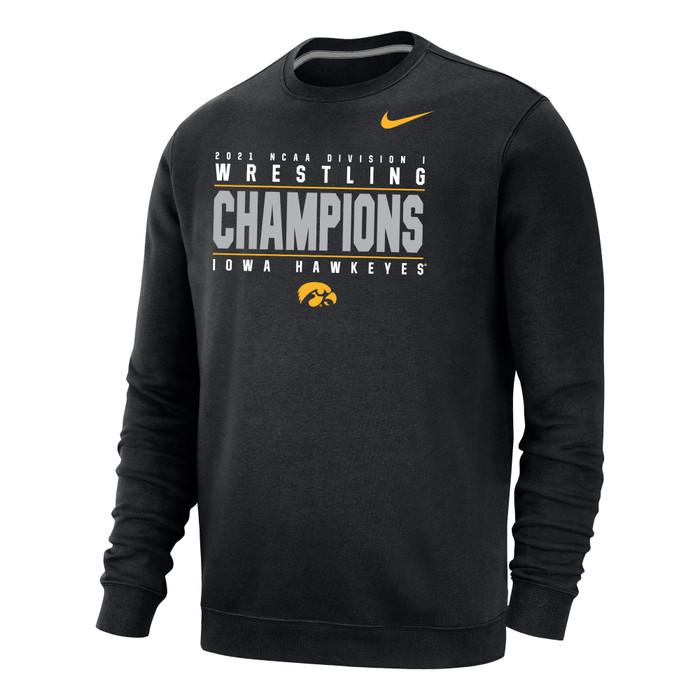Nike Men's Iowa Hawkeyes 2021 Wrestling National Champions Crew - Black