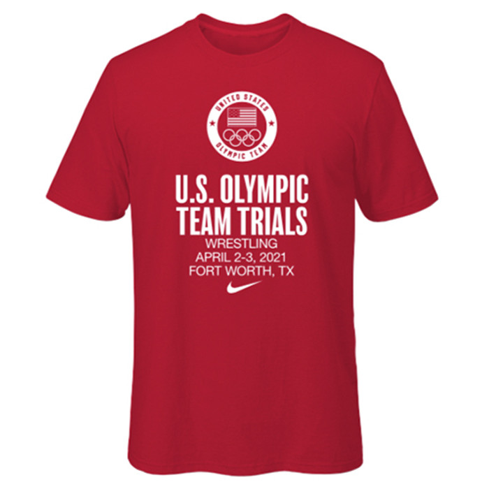 Nike Men's USA Wrestling Olympic Trials Dri-Fit Cotton Tee - Red