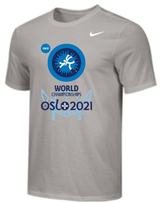 Nike Men's UWW Oslo Championships Tee - Grey/Light Blue