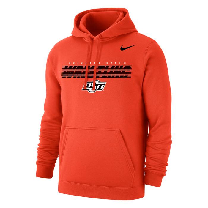 Nike Men's Wrestling Oklahoma State Club Fleece Pullover Hoodie - Orange