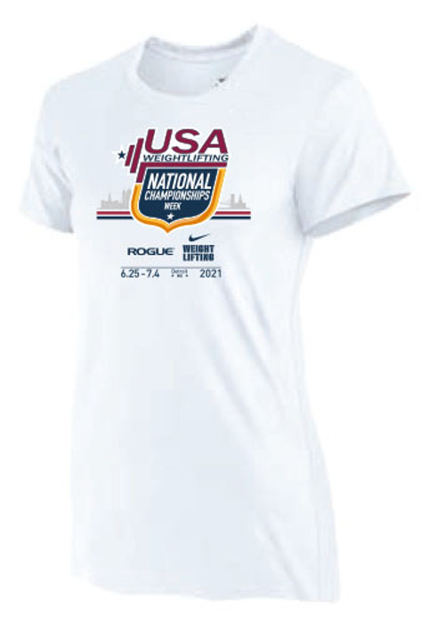 Nike Women's USA Weightlifting National Championships Detroit 2021 Tee - White
