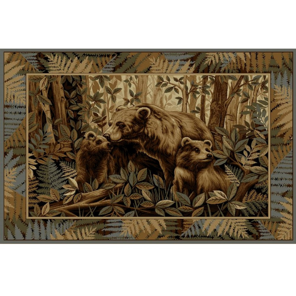Bear and Cubs Wilderness Area Rug | Persian Weavers | W-752