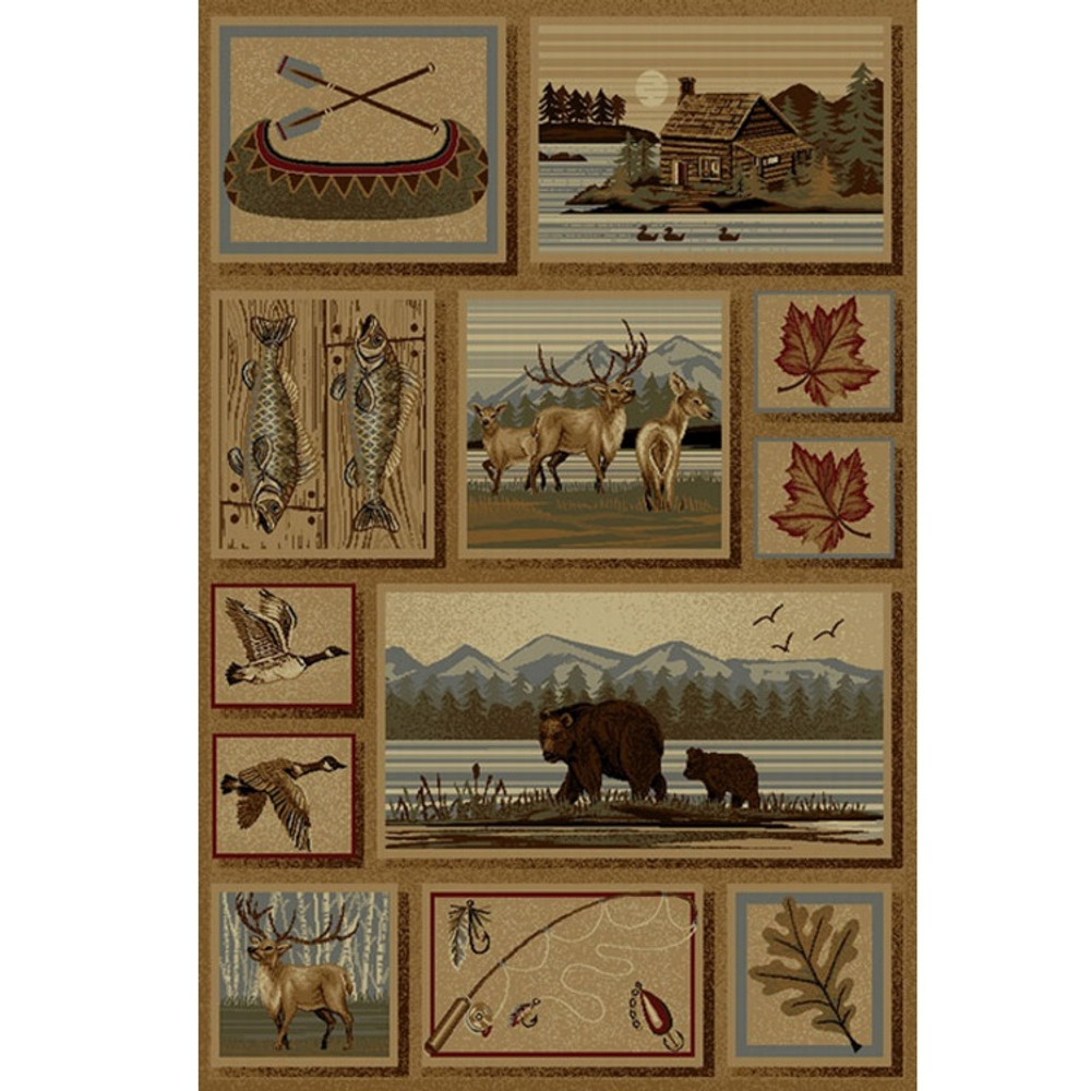 Bear Cabin Deer Wilderness Area Rug | Persian Weavers | W-753
