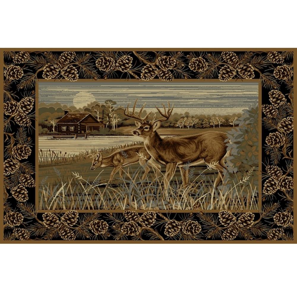 Pine Cone Deer Wilderness Area Rug | Persian Weavers | W-756