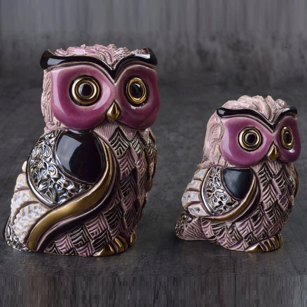 Long Eared Owl and Baby Ceramic Figurine Set | De Rosa Rinconada | F205-F405 -2