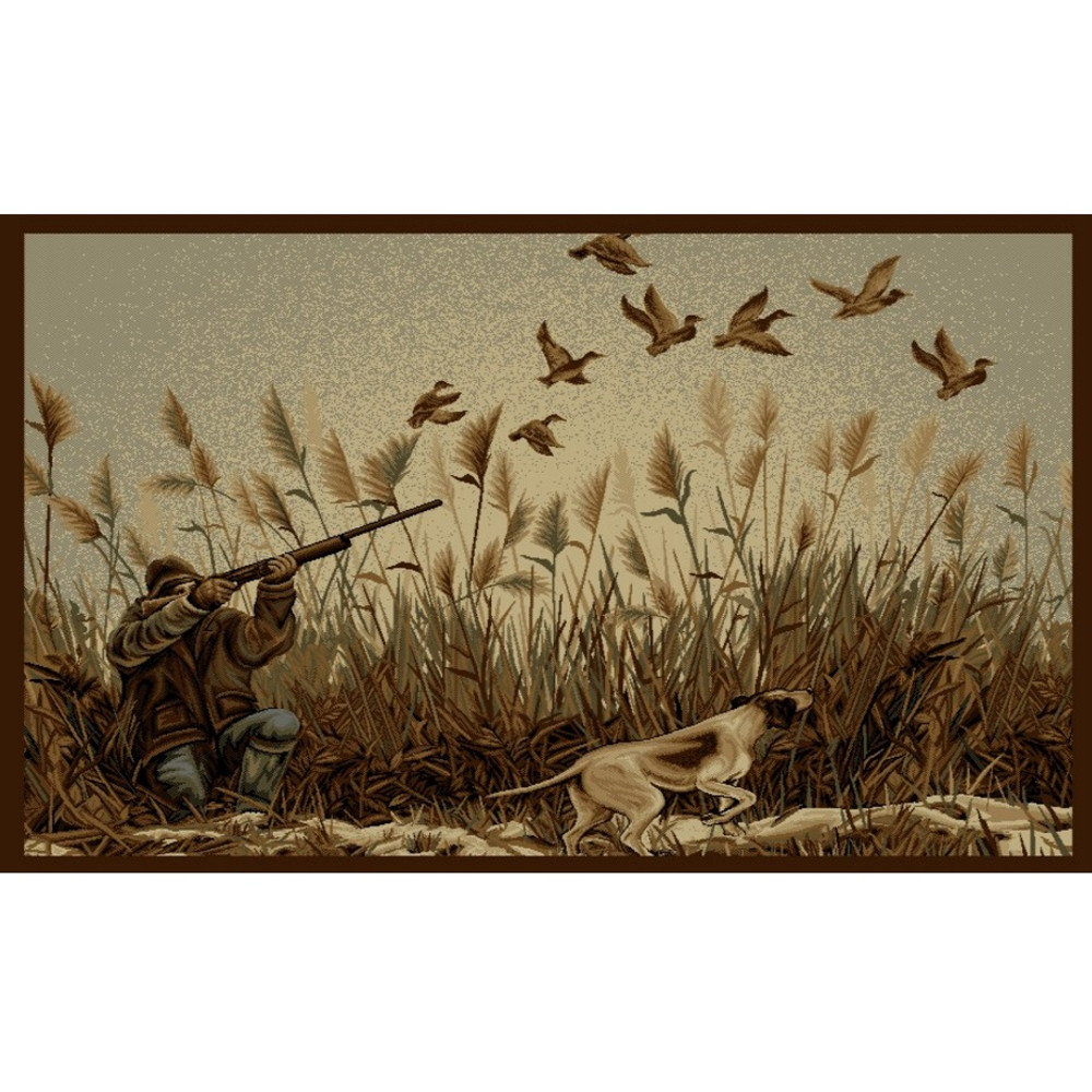 Dog and Hunter Wilderness Area Rug | Persian Weavers | W-766