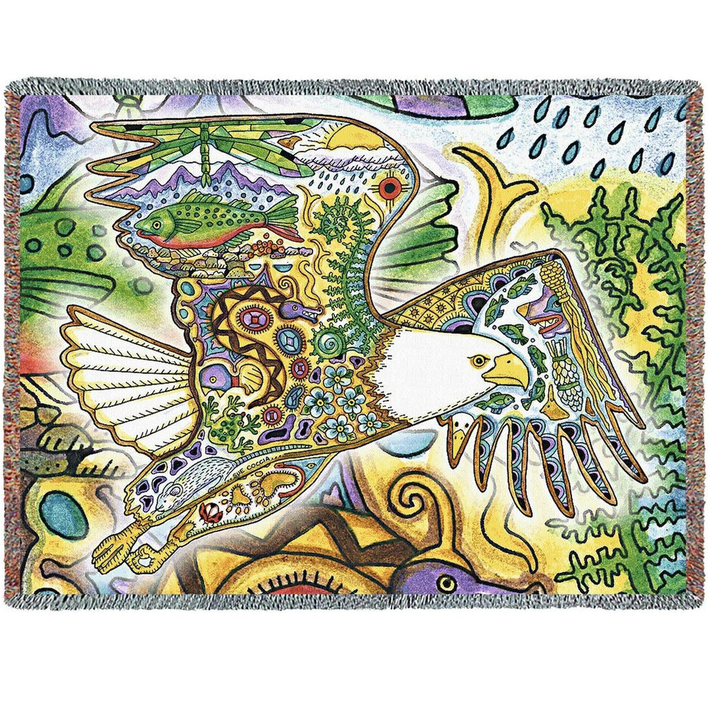 Eagle Tapestry Throw Blanket   Pure Country   8002T