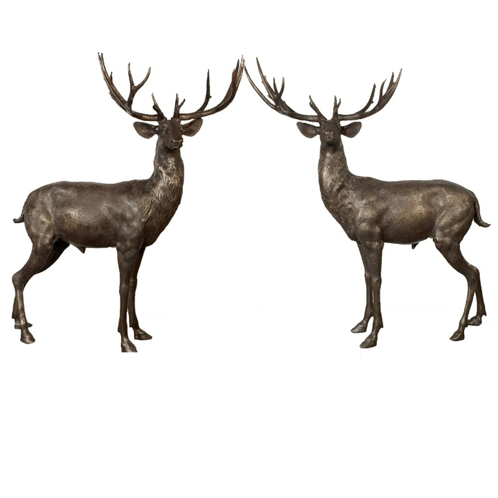 Deer Pair Standing Bronze Statue | Metropolitan Galleries | SRB10069-2