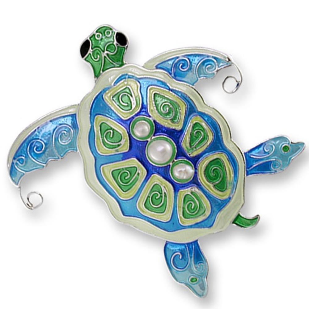 Pearly Sea Turtle Enamel Silver Plated Pin   Zarah Jewelry   33-02-Z2