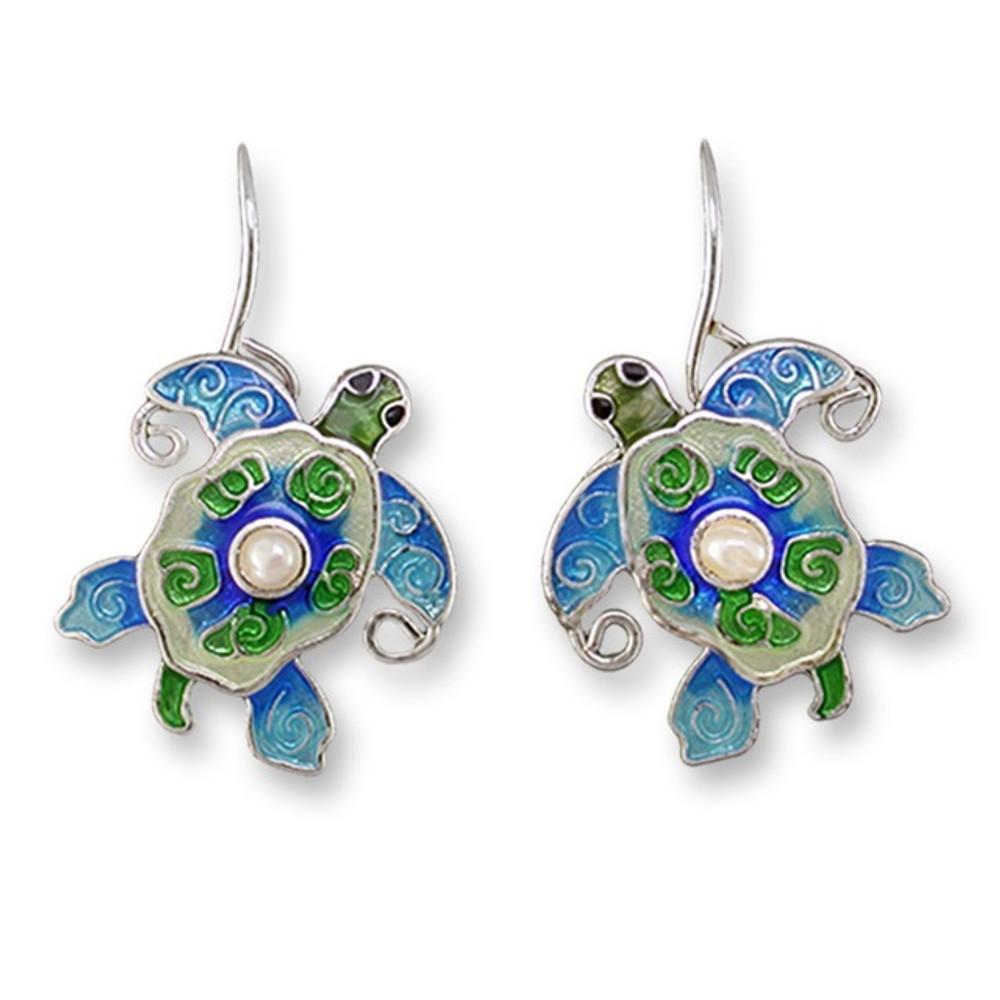 Pearly Sea Turtle Enamel Silver Plated Earrings   Zarah Jewelry   33-02-Z1