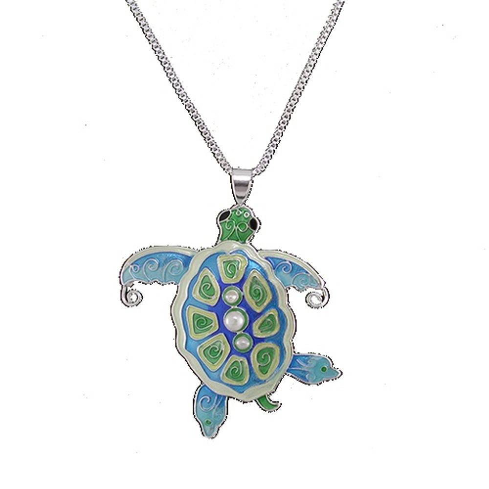 Sea Turtle Enamel Silver Plated Pearly Necklace | Zarah Jewelry | 33-02-Z2P -2
