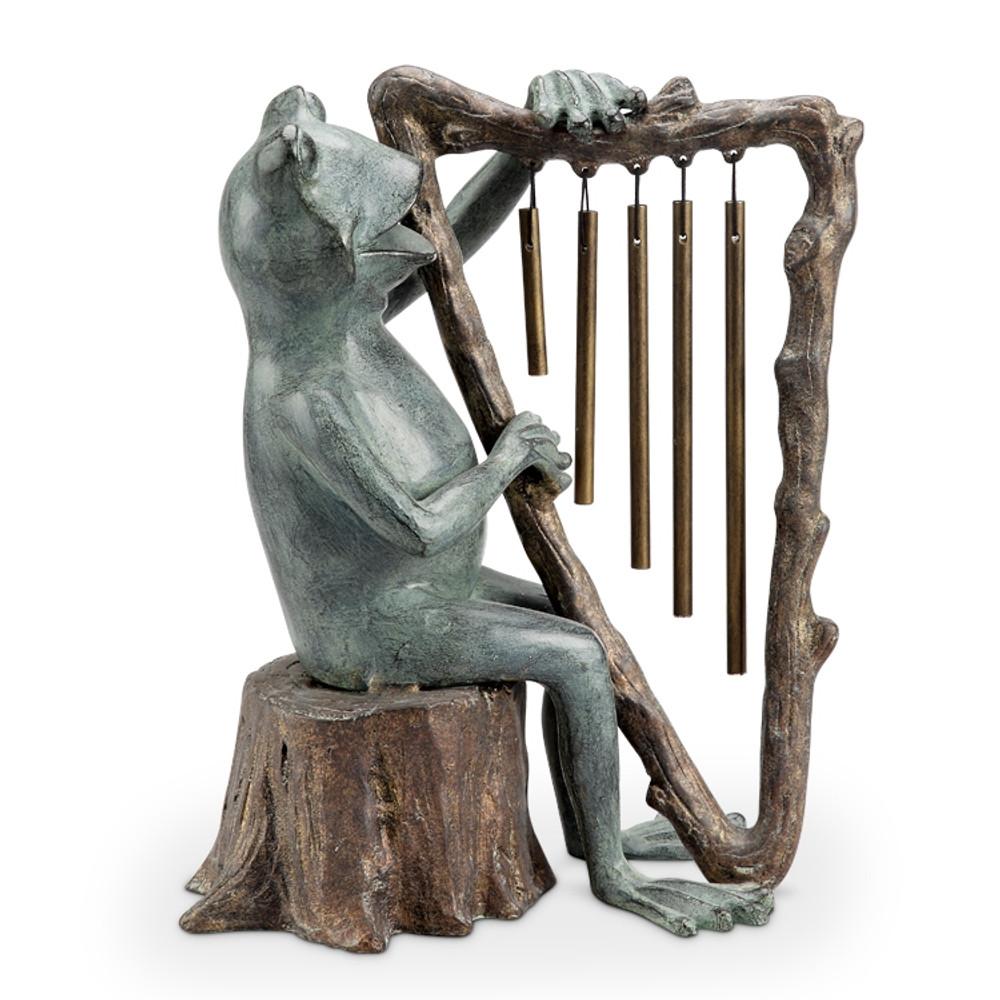 Frog and Harp Windchime Garden Sculpture | 34538 | SPI Home -3