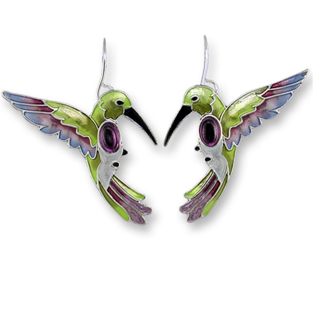 Hummingbird Enamel Silver Plated Pearly Wire Earrings | Zarah Jewelry | 07-02-Z1