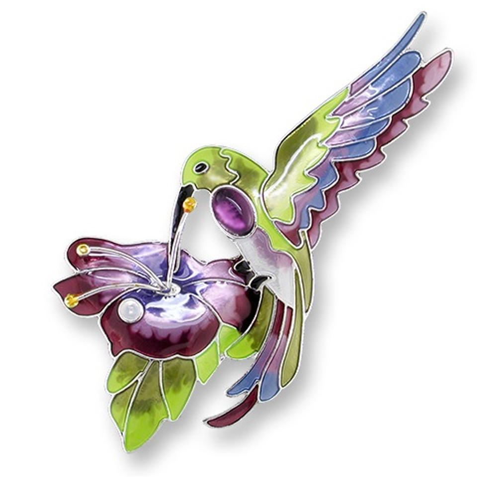 Hummingbird Enamel Silver Plated Pearly Pin Amethyst | Zarah Jewelry | 07-02-Z2