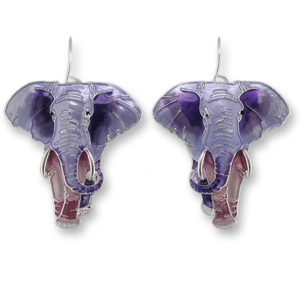 Elephant Enamel Silver Plated Pearly Wire Earrings | Zarah Jewelry | 07-03-Z1