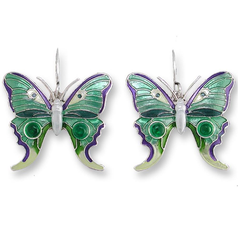 Butterfly Enamel Silver Plated Pearly Wire Earrings   Zarah Jewelry   07-06-Z1