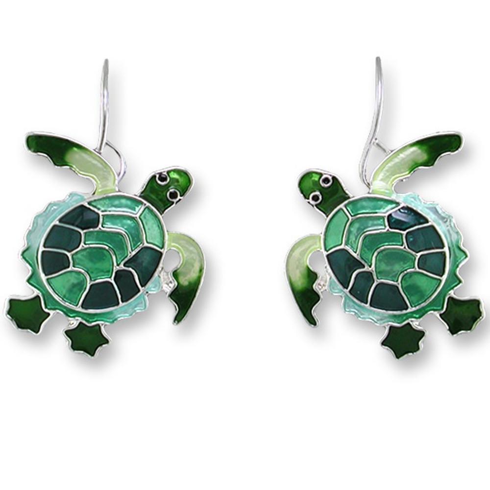 Green Turtle Enamel Silver Plated Pearly Wire Earrings | Zarah Jewelry | 0707Z1