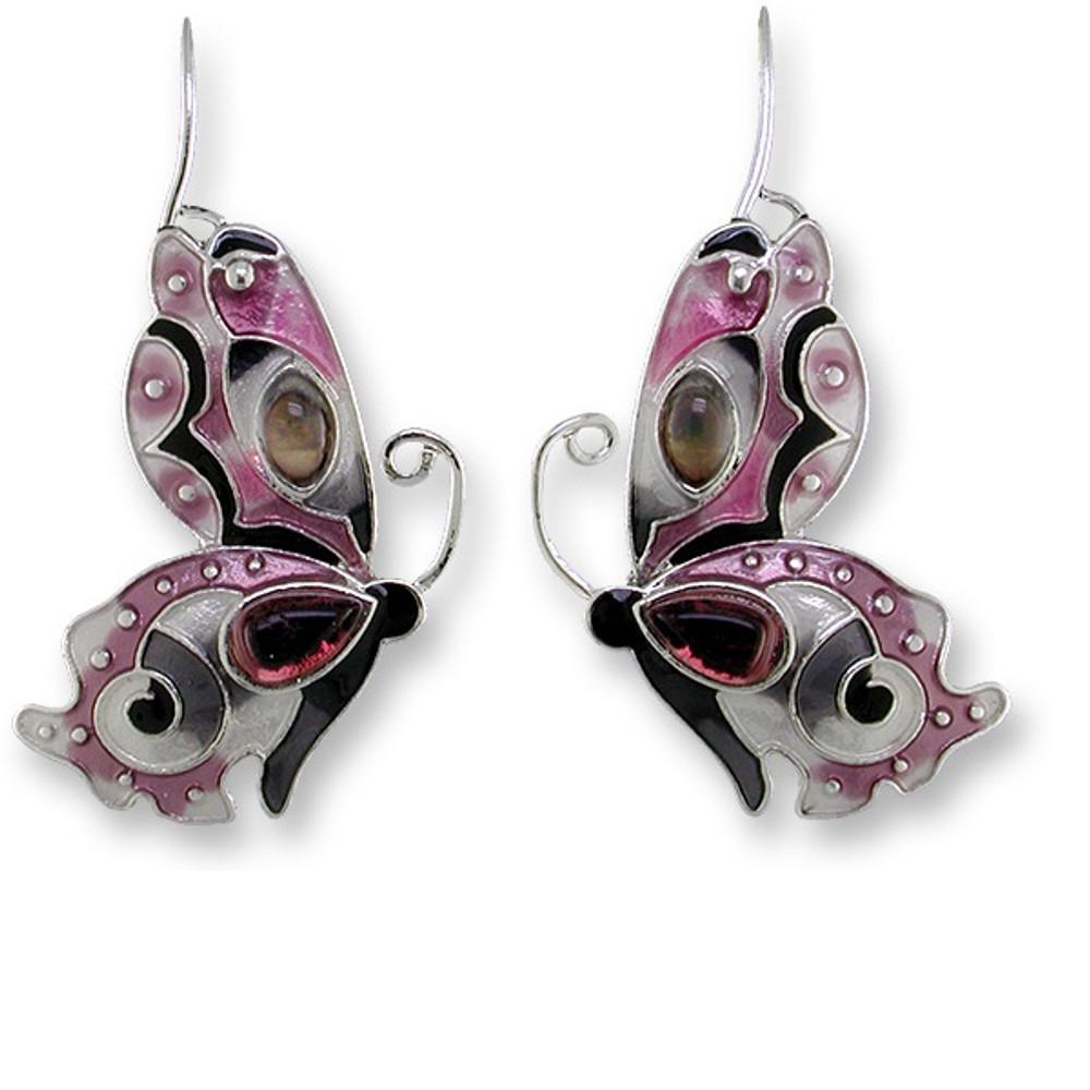 Butterfly Enamel Silver Plated Pearly Wire Earrings Garnet | Zarah Jewelry | 07-15-Z1