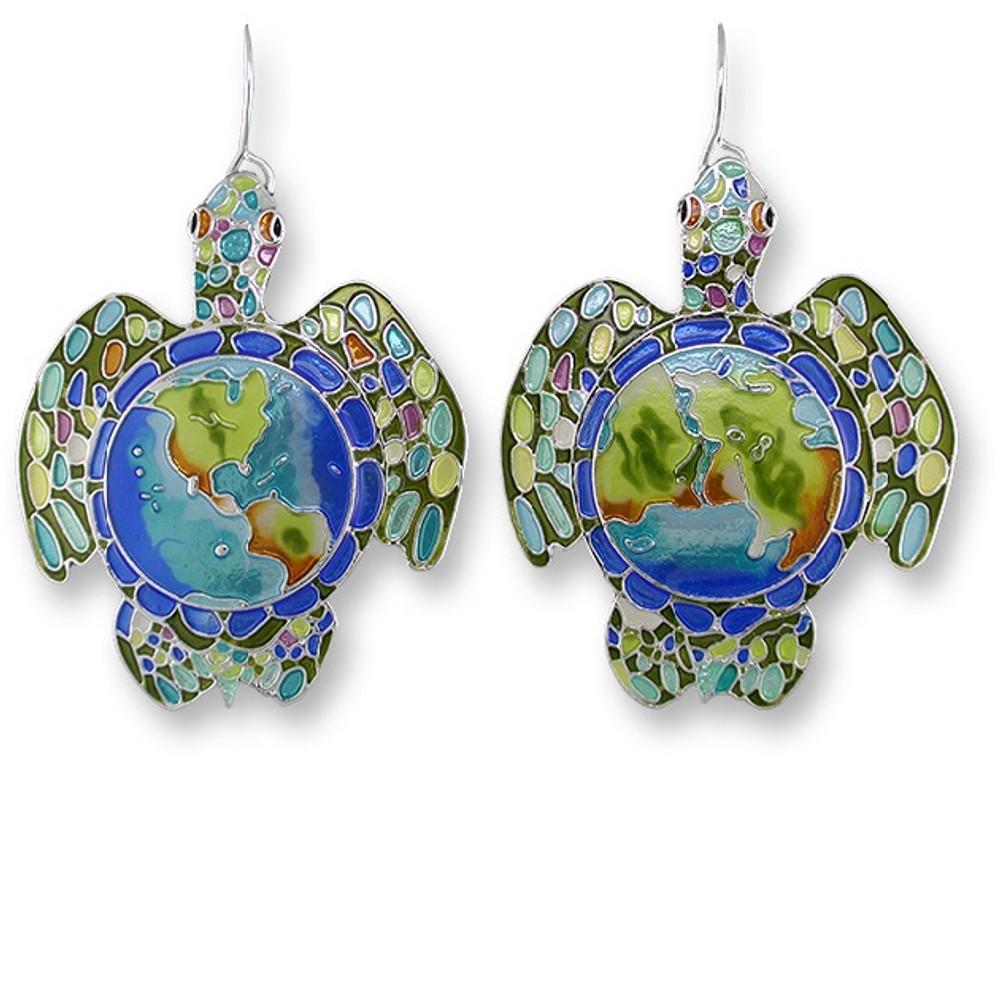Earth Turtle Enamel Silver Plated Pearly Wire Earrings | Zarah Jewelry | 16-01-Z1