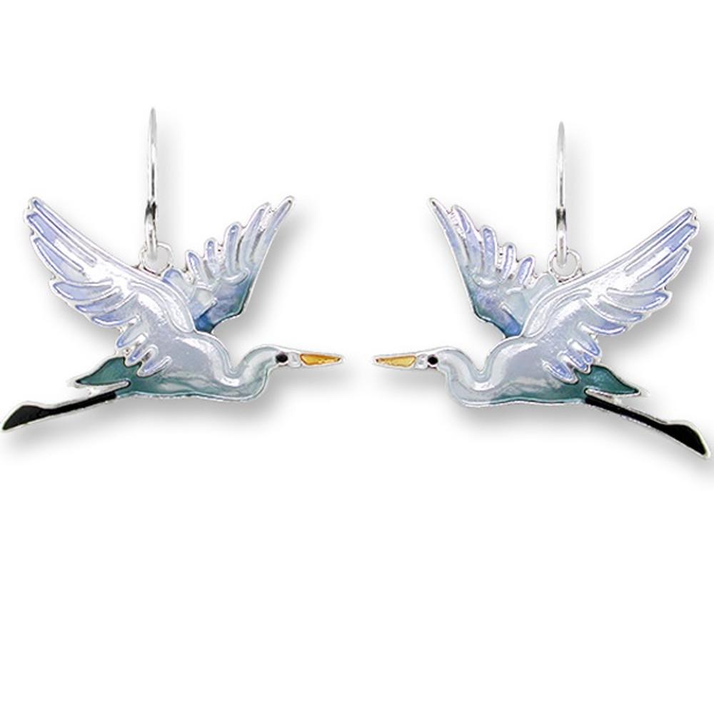 Heron Enameled Silver Plated Wire Earrings | Zarah Jewelry | 19-12-Z1