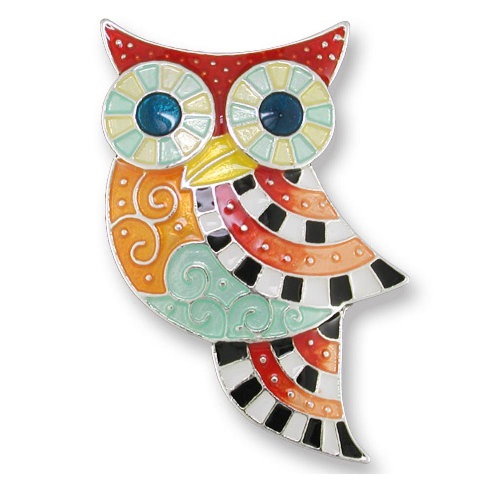 Owl Enameled Silver Plated Pin | Zarah Jewelry | 20-07-Z2