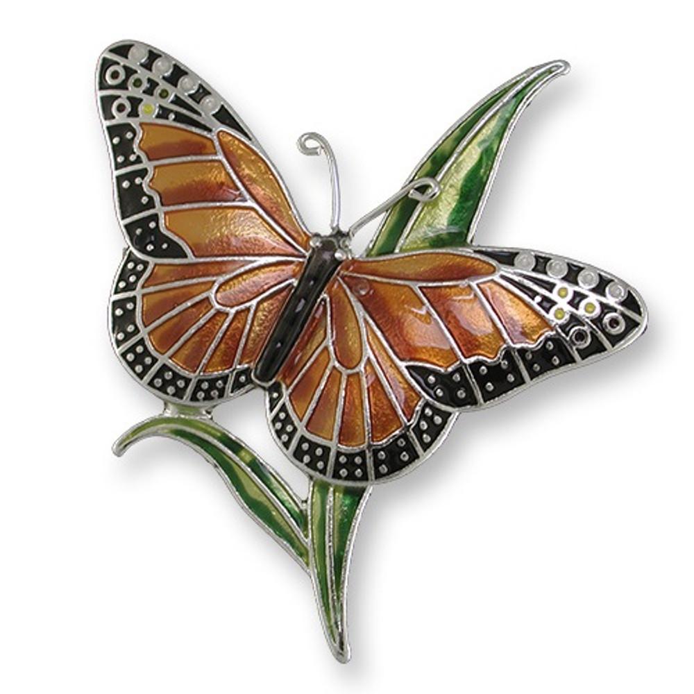 Monarch Butterfly Enameled Silver Plated Pin | Zarah Jewelry | 21-05-Z2