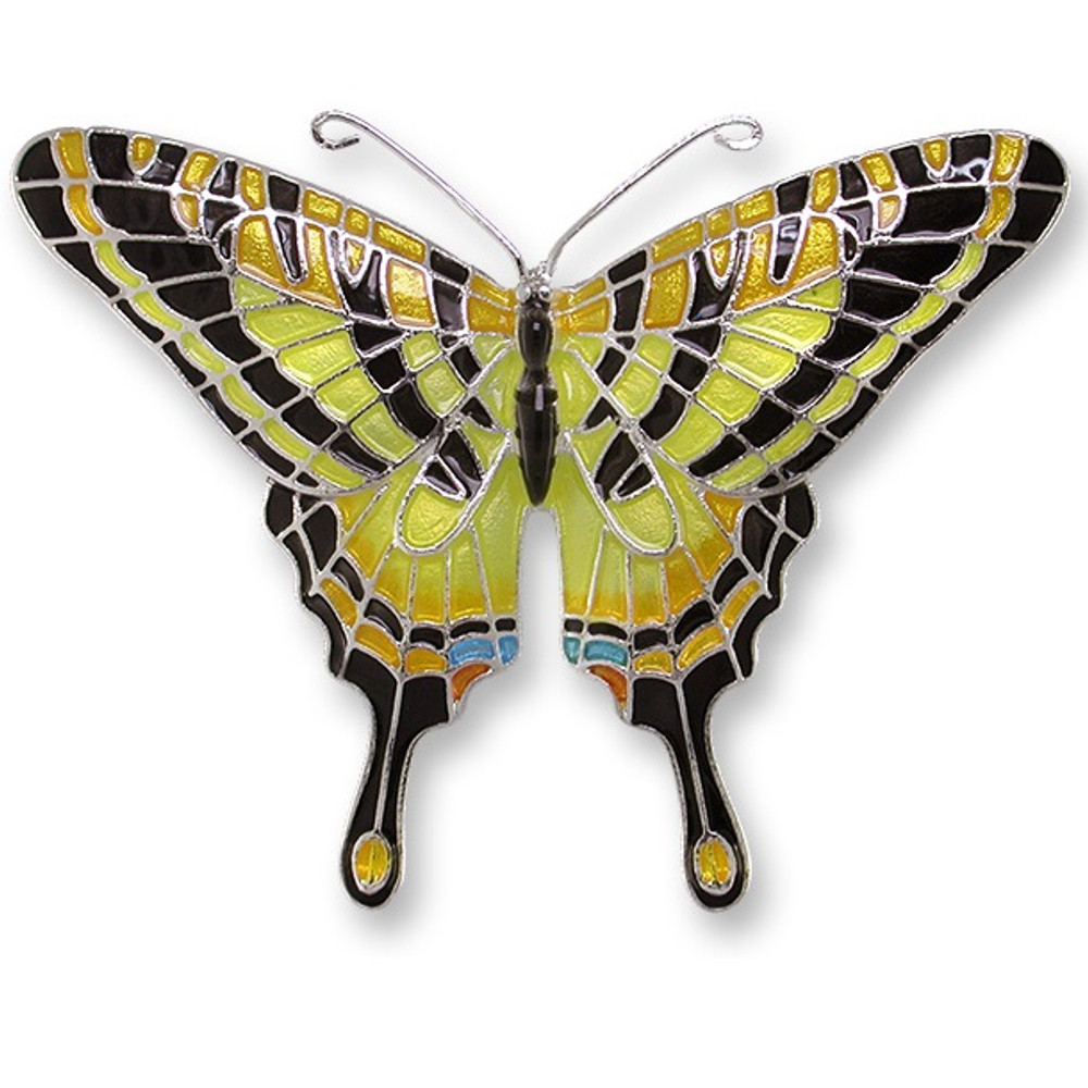 Swallowtail Butterfly Enameled Silver Plated Pin | Zarah Jewelry | 21-06-Z2